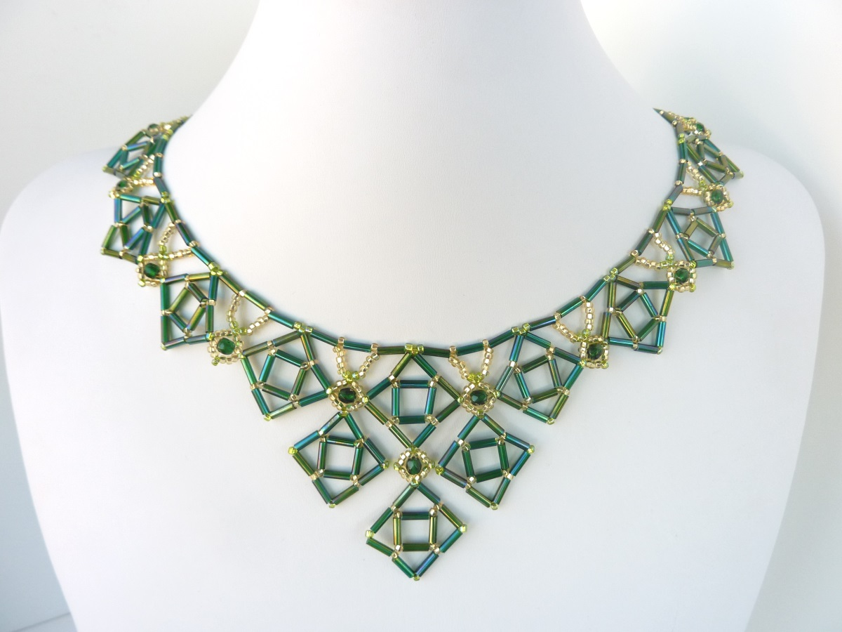 free beading pattern for necklace bugle diamonds