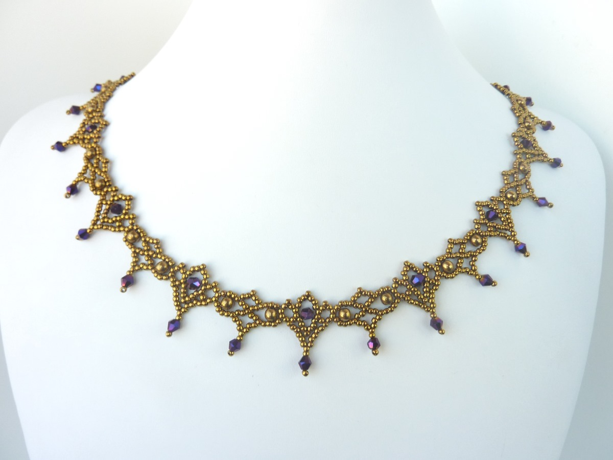 FREE beading pattern for necklace Crystal Lace ...