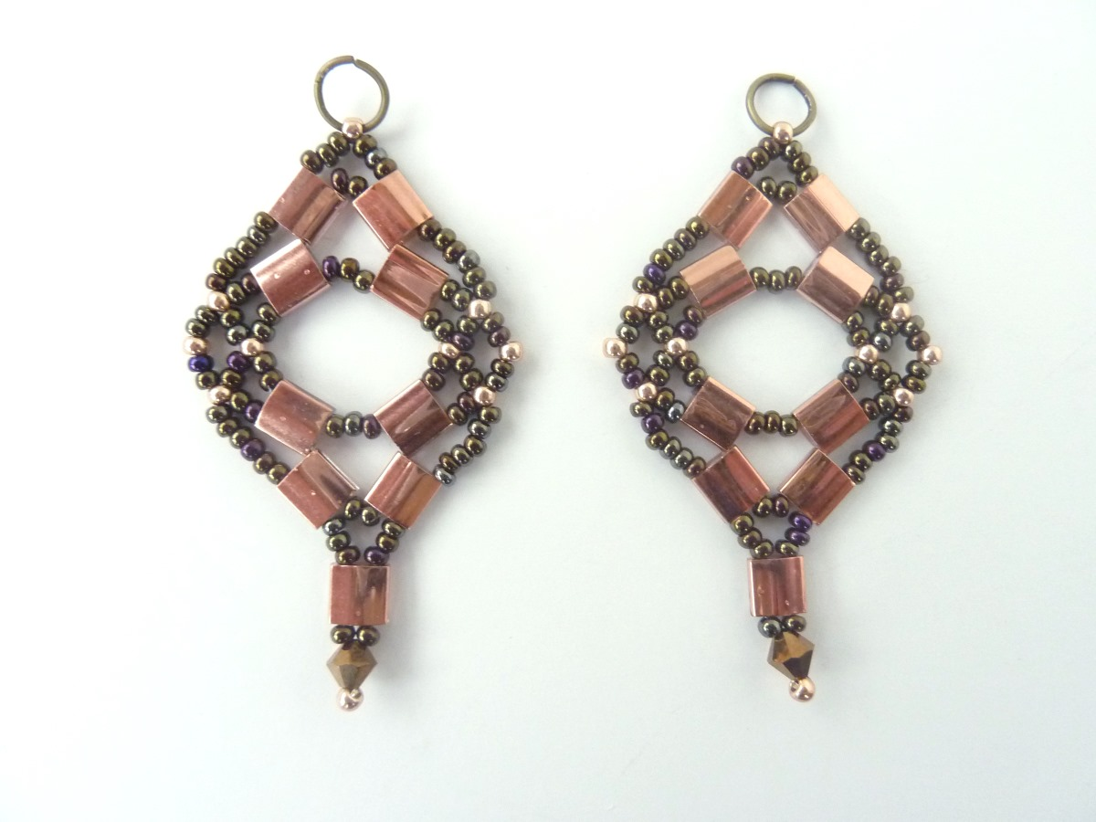 Free Beading Pattern For Tila Net Earrings Beaddiagrams Com